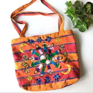 Boho Striped Embroidered Canvas Large Bag